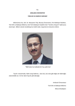 Bölümümüz Arş. Gör. Dr. Bünyamin TAŞ, Aksaray - KLU