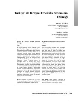 Türkiye` de Bireysel Emeklilik Sisteminin Etkinliği