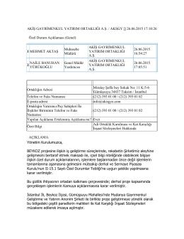 26.06.2015 - Adi Ortaklık Kurulması