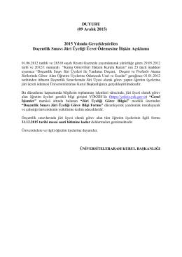 DUYURU (09 Aralık 2015) 2015 Yılında Gerçekleştirilen Doçentlik