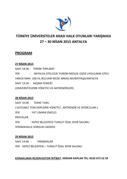 30 nisan 2015 antalya program
