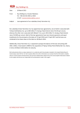 Loan agreement of our subsidiary of Enerji Yatırımları