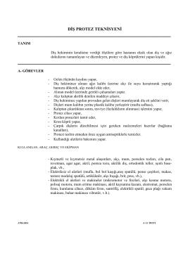 DİŞ PROTEZ TEKNİSYENİ - Sis Mesleki ve Teknik Anadolu Lisesi