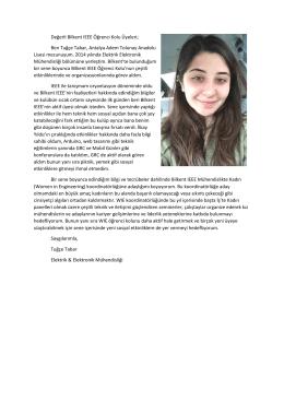 Niyet Mektubu - Bilkent IEEE Öğrenci Kolu