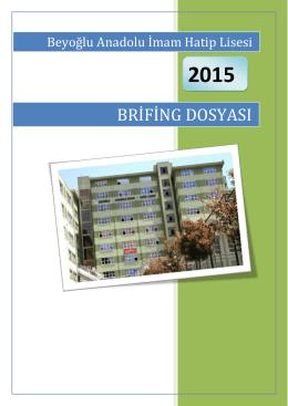 2014-2015 Brifing Dosyası - Beyoğlu Anadolu İmam Hatip Lisesi