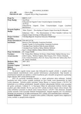 ara sonuç raporu - Tekirdağ Bağcılık Araştırma Enstitüsü Müdürlüğü