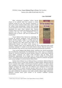 POYRAZ, Yakup, Tayyar Mahmud Paşa ve Divanı, Etüt