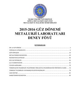 2015-2016 Güz Metalurji Laboratuarı Deney Föyü