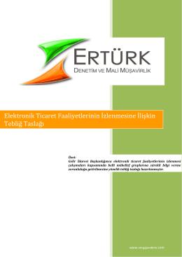 2) Elektronik Ticaret Faaliyetlerinin İzlenmesine İlişkin Tebliğ Taslağı