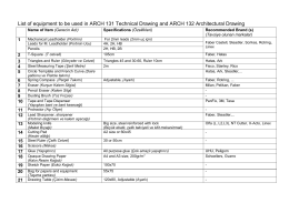 List of equipment to be used in ARCH 131 Technical Drawing and