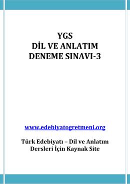 YGS DİL VE ANLATIM DENEME SINAVI-3