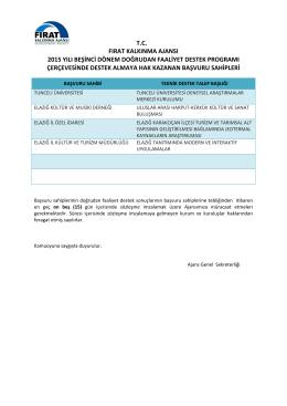 T.C. FIRAT KALKINMA AJANSI 2015 YILI BEŞİNCİ DÖNEM