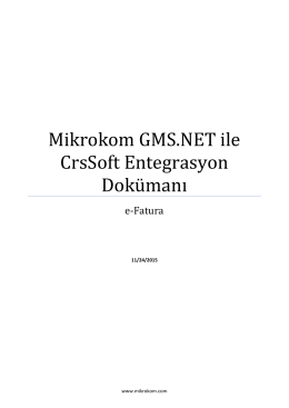 e-Fatura CrsSoft Entegre Dokümanı