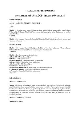 muhasebe müdürlüğü - Trabzon Defterdarlığı