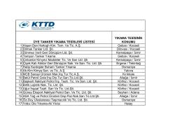 Üye Tanker Yıkama Tesisleri Listesi