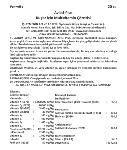 Premiks 20 cc Avisol-Plus Kuşlar için Multivitamin Çözeltisi
