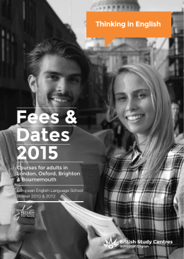 Fees & Dates 2015