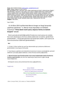 15-16 Ekim 2015 tarihlerinde Mersin Kongre ve Sergi Sarayında