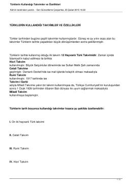 Türklerin Kullandığı Takvimler ve Özellikleri