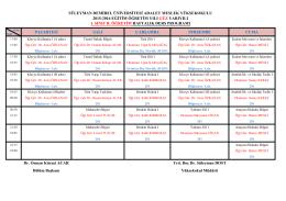 2015-2016 Güz YY. I. Sınıf II. Öğretim Haftalık Ders Programı