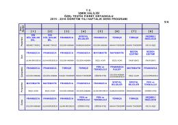 5/A Sınıfı Ders Programı - Özel Tevfik Fikret Okulları