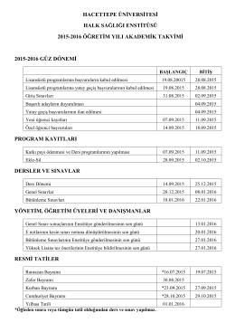 2015-2016 Öğretim Yılı Güz Dönemi Akademik Takvimi