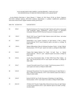 Avcılar Belediye Meclisinin 6. Seçim Dönemi 2. Toplantı yılı 2016
