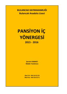 PANSİYON İÇ YÖNERGESİ - Bulancak Anadolu Lisesi