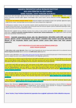 sakarya üniversitesi fen bilimleri enstitüsü