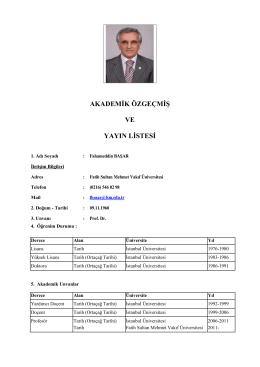 Akademik CV - FSMVU | Fahameddin BAŞAR