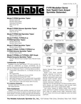 F1FR Modelleri Serisi Hızlı Tepkili Cam Ampul Sprinkler Sistemleri
