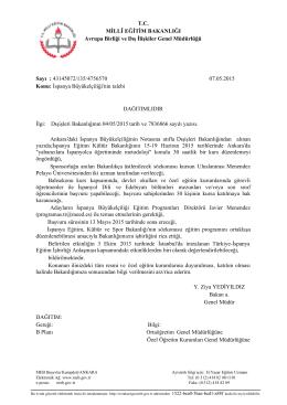 T.C. MİLLÎ EĞİTİM BAKANLIĞI Avrupa Birliği ve Dış İlişkiler Genel