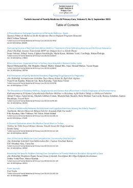 Table of Contents - Turkish Journal of Family Medicine and Primary
