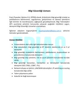 Bilgi Güvenliği Uzmanı - Enerji Piyasaları İşletme A.Ş.