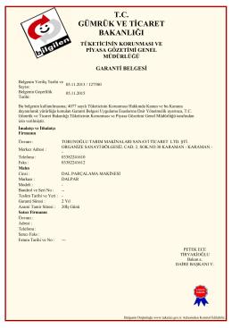 Dalparçalama makinası Garanti Belgesi 341KB