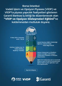Borsa İstanbul Vadeli İşlem ve Opsiyon Piyasası (VİOP) ve VİOP`ta
