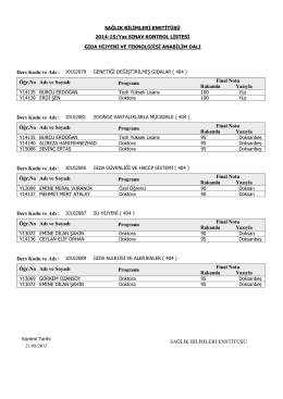 2014-15 Yaz Dönemi Sınav Sonuçları