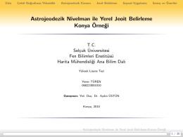 Astrojeodezik Nivelman ile Yerel Jeoit Belirleme Konya Örnegi