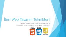 İleri Web Tasarım Teknikleri