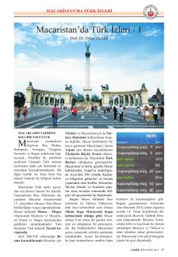 Macaristan`da Türk İzleri / 1 - Prof.Dr.Orhan GEDİKLİ Gözüyle