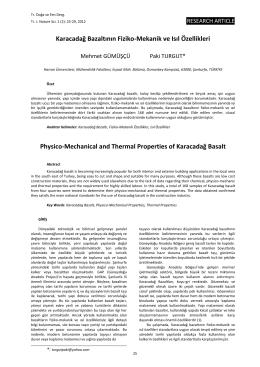 Karacadağ Bazaltının Fiziko-Mekanik ve Isıl Özellikleri Physico