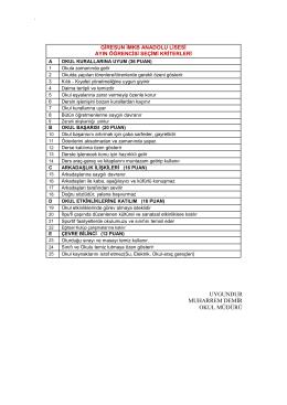 Ayın Öğrencisi Seçim Kriterleri