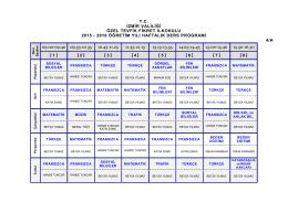 4/A Sınıfı Ders Programı - Özel Tevfik Fikret Okulları