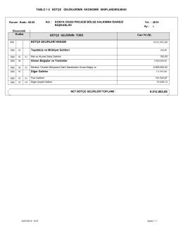 1.5.Bütçe Gelirlerinin Ekonomik Sınıflandırılması Tablosu