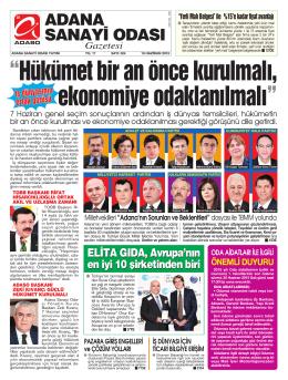 ADANA SANAY‹ ODASI Gazetesi