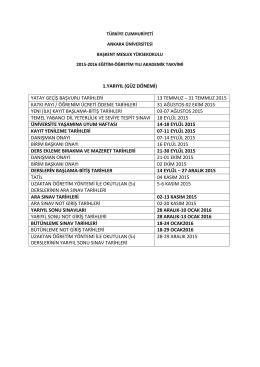 2015-2016 eğitim öğretim yılı akademik takvimi!