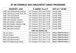 07-08 TEMMUZ 2015 MEZUNİYET SINAV PROGRAMI