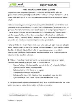 hizmet şartları - AIRTEST Validasyon ve Ölçüm Hizmetleri Tic.Ltd.ŞTI