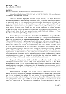 Karar No : 169 Karar Tarihi : 14/05/2015 KONUSU