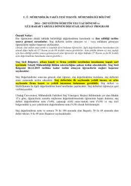 staj değerlendirme sınavları - Uludağ Üniversitesi Tekstil Mühendisliği